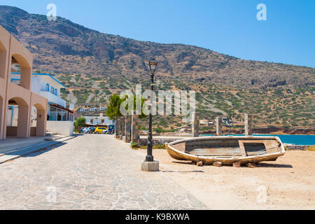 Boat in the village of Plaka. Crete, Greece - Stock Photo