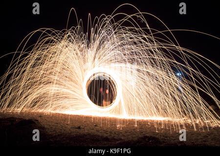 Steel wool spinning - Stock Photo