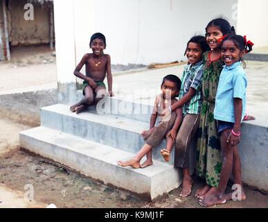 Unidentified Happy Indian rural children - Stock Photo