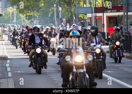 London, UK. 24th September, 2017. Motorcycle rally convoy, London. A convoy of very well dressed motorcyclists pass - Stock Photo