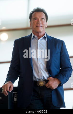 San Sebastian, Spain. 25th Sep, 2017. Actor Arnold Scwarzenegger at the photocall of 'Wonders of the sea 3D' during - Stock Photo