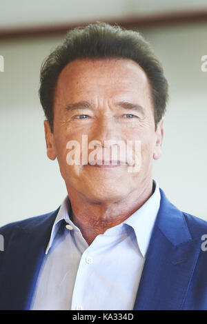 San Sebastian, Euskadi, Spain. 25th Sep, 2017. Arnold Schwarzenegger attends 'Wonders of the sea 3D' Photocall during - Stock Photo