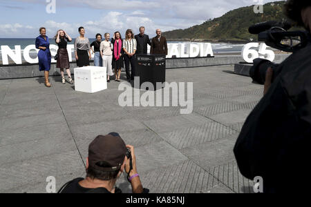San Sebastian, Spain. 25th Sep, 2017. Austrian writer and producer Barbara Albert (4R) poses after the presentation - Stock Photo