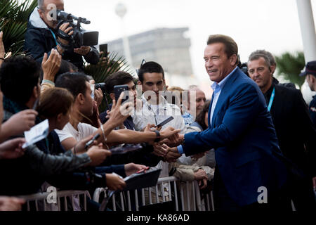 San Sebastian, Spain. 25th Sep, 2017. Actor Arnold Schwarzenegger at the red carpet of 'Wonders of the sea 3D' during - Stock Photo