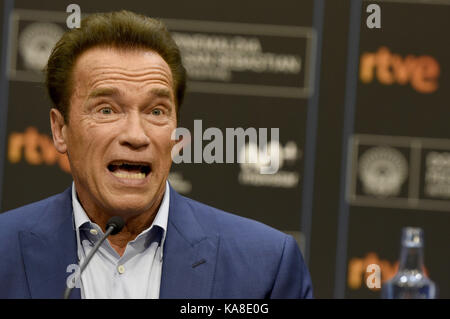 San Sebastian, Spain. 25th Sep, 2017. Arnold Schwarzenegger attends the 'Wonder Of The Sea 3D' press conference - Stock Photo