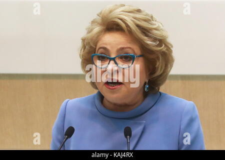 MOSCOW, RUSSIA - SEPTEMBER 27, 2017: Russian Federation Council Chairperson Valentina Matviyenko speaks at a meeting - Stock Photo