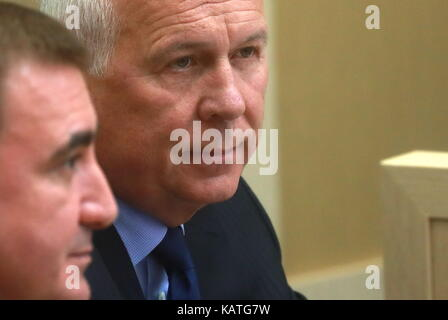 MOSCOW, RUSSIA - SEPTEMBER 27, 2017: Tula Region Governor Alexei Dyumin (L) and Rostec CEO Sergei Chemezov attend - Stock Photo