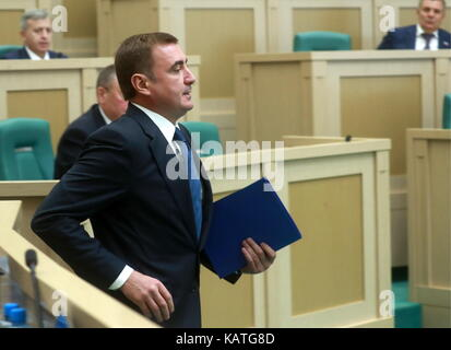 MOSCOW, RUSSIA - SEPTEMBER 27, 2017: Tula Region Governor Alexei Dyumin attends a meeting of the Russian Federation - Stock Photo