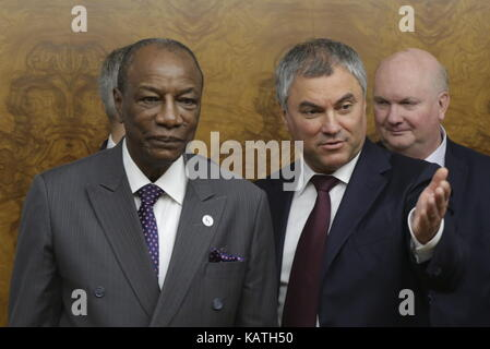 MOSCOW, RUSSIA - SEPTEMBER 27, 2017: Alpha Conde, President of the Republic of Guinea, and Russian State Duma Chairman - Stock Photo