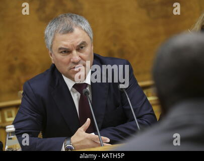 MOSCOW, RUSSIA - SEPTEMBER 27, 2017: Russian State Duma Chairman Vyacheslav Volodin speaks during talks with Alpha - Stock Photo