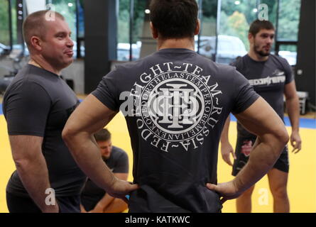 MOSCOW REGION, RUSSIA - SEPTEMBER 27, 2017: A training session at Fedor Emelianenko Martial Arts School in Novogorsk, - Stock Photo