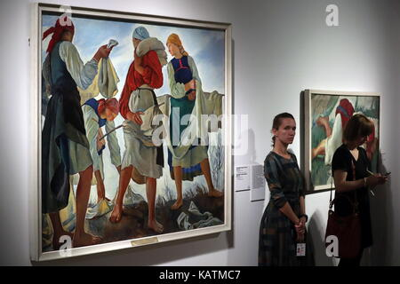 MOSCOW, RUSSIA - SEPTEMBER 27, 2017: Bleaching the Cloth (1917) by painter Zinaida Serebriakova on display at the - Stock Photo