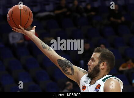 MOSCOW, RUSSIA - SEPTEMBER 27, 2017: Panathinaikos' Nikos Pappas in action in their 2017 Alexander Gomelsky Cup - Stock Photo
