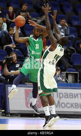 MOSCOW, RUSSIA - SEPTEMBER 27, 2017: Darussafaka S.K. Istanbul's James Bell (L) and Panathinaikos' James Gist in - Stock Photo