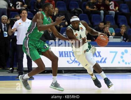 MOSCOW, RUSSIA - SEPTEMBER 27, 2017: Panathinaikos' Chris Singleton (R) dribbles past Darussafaka S.K. Istanbul's - Stock Photo