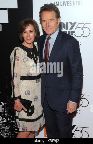 New York, NY, USA. 28th Sep, 2017. Bryan Cranston and Robin Dearden attends 55th New York Film Festival opening - Stock Photo