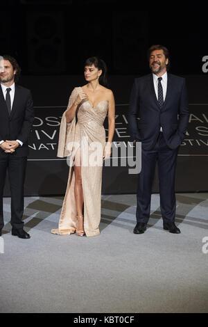 San Sebastian, Euskadi, Spain. 30th Sep, 2017. Javier Bardem, Penelope Cruz attends 'Loving Pablo' Premiere during - Stock Photo