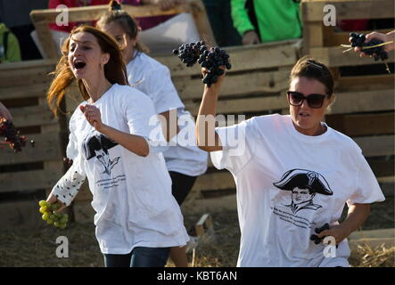 Crimea, Russia. 30th Sep, 2017. People throw grapes at each other at the WineFest grape harvesting and wine making - Stock Photo