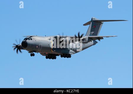 Airbus A400M heavy turboprop cargo plane of the Turkish Air Force - Stock Photo