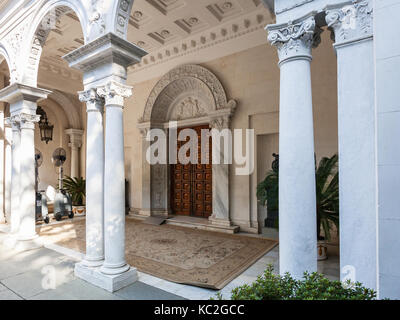 LIVADIYA, CRIMEA - SEPTEMBER 21, 2017: entrance to Livadia Palace. The palace was the summer residence of the Russian - Stock Photo