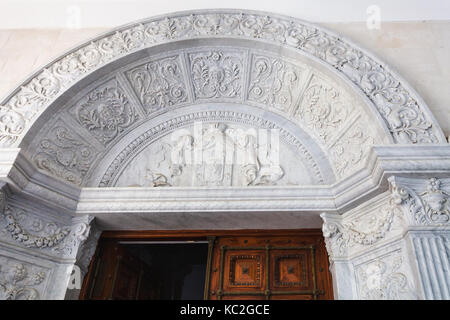 LIVADIYA, CRIMEA - SEPTEMBER 21, 2017: relief over the entrance to Livadia Palace. The palace was the summer residence - Stock Photo