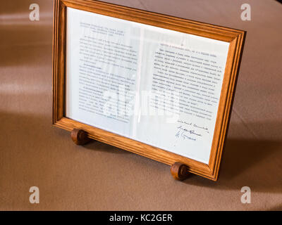 LIVADIYA, CRIMEA - SEPTEMBER 21, 2017: sheet of declaration with the signatures of Stalin, Roosevelt, Churchill - Stock Photo