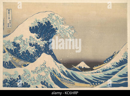 冨嶽三十六景 神奈川沖浪裏, Under the Wave off Kanagawa (Kanagawa oki nami ura), also known as The Great Wave - Stock Photo