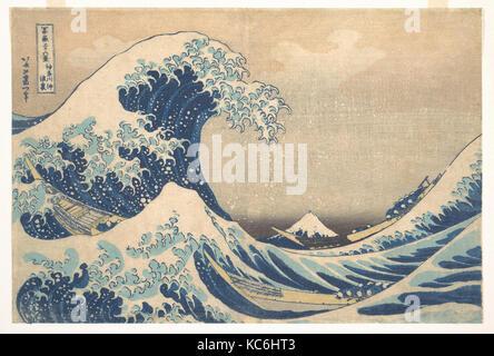 冨嶽三十六景 神奈川沖浪裏, Under the Wave off Kanagawa (Kanagawa oki nami ura), also known as The Great Wave - Stock Photo