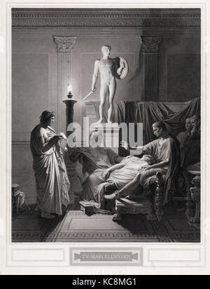 Drawings and Prints, Print, Tu Marcellus Eris, Artist, After, Charles Simon Pradier, Jean Auguste Dominique Ingres, - Stock Photo