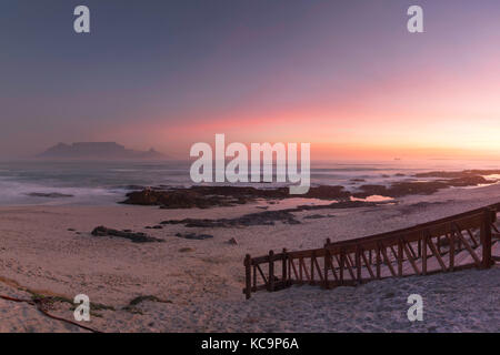 View of Table Mountain from Bloubergstrand, Cape Town, Western Cape, South Africa - Stock Photo