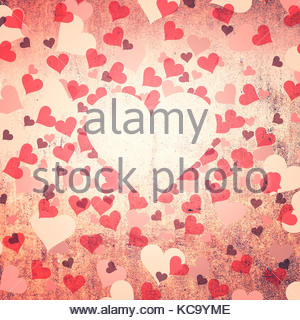 Grunge vintage red color Valentine's Day Hearts symbol illustration background with place for text. - Stock Photo