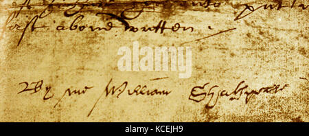 photograph of a 'Will' dated 1616, bearing Shakespeare's signature. William Shakespeare (1564 – 1616); English poet, - Stock Photo