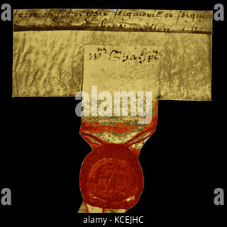 photograph of seal bearing Shakespeare's signature, from Blackfriars mortgage and property documents. William Shakespeare - Stock Photo
