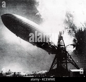 Photograph taken during the Hindenburg disaster. A German passenger airship LZ 129 Hindenburg caught fire and was - Stock Photo