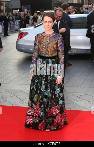London, UK. 4th Oct, 2017. Claire Foy, Breathe - BFI LFF Opening Night Gala, Leicester Square, London, UK. 04th - Stock Photo