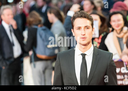 London, UK. 4th October 2017. Ben Lloyd-Hughes arrives for the UK film premiere of Breathe at Odeon Leicester Square - Stock Photo