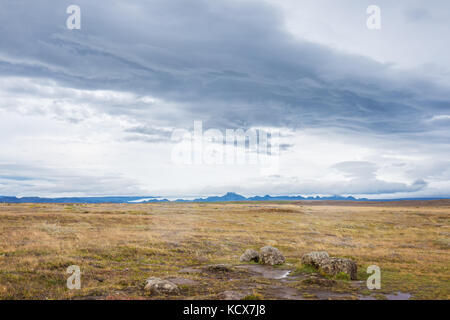 Valley with mountains and Glacier in Iceland - Stock Photo