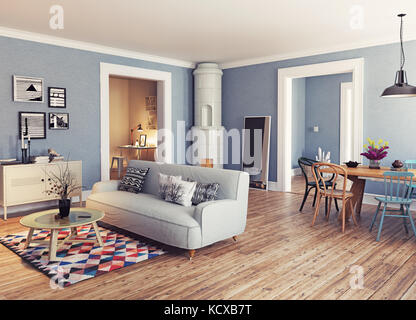 Modern apartment. Scandinavian design style. 3d rendering illustration concept - Stock Photo & Modern apartment. Scandinavian design style. 3d rendering Stock ...