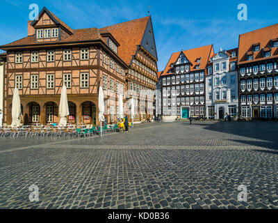 Butchers' Guild Hall, market place with half-timbered houses, city museum, Hotel Van der Valk, Hildesheim, Lower - Stock Photo