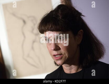 Moscow, Russia. 9th Oct, 2017. Director of the Pushkin State Museum of Fine Arts, Marina Loshak, attends an exhibition - Stock Photo
