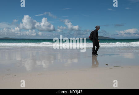 lone hiker exploring Scotland - Stock Photo