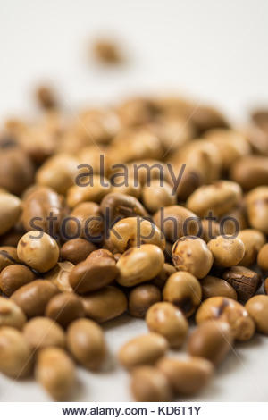 Selective focus on soya beans on the white marble background table. - Stock Photo