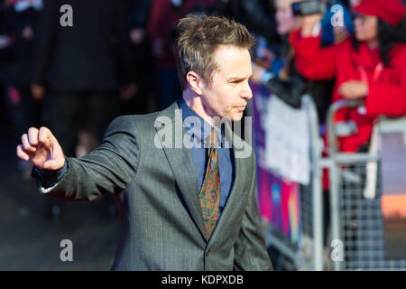 London, UK. 15th October 2017. Sam Rockwell arrives for the UK film premiere of 'Three Billboards Outside Ebbing, - Stock Photo