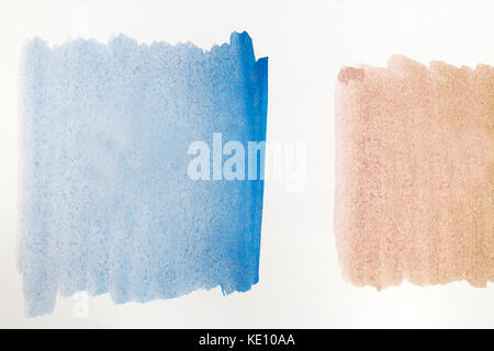 brown and blue watercolor painting texture on white background - Stock Photo
