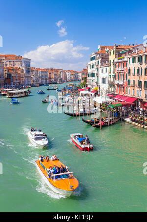 Venice italy venice Vaporettos actv water taxi or water bus and small motor boats Venice Grand Canal Venice Italy - Stock Photo