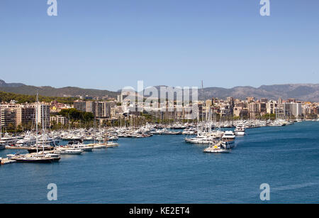 Aerial view of Palma De Mallorca city and marina. It is a resort city and capital of the Spanish island of Majorca - Stock Photo