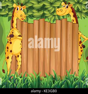 Border design with two giraffes illustration - Stock Photo