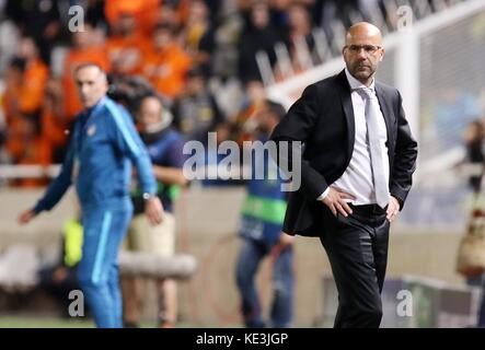 Nicosia, Cyprus. 17th Oct, 2017. Bortussia Dortmund's coach Peter Bosz reacts during the 2017-2018 Champions League - Stock Photo