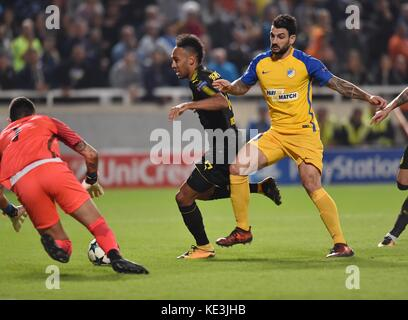 Nicosia, Cyprus. 17th Oct, 2017. Bortussia Dortmund's Pierre-Emerick Aubameyang (C) vies for the ball during the - Stock Photo
