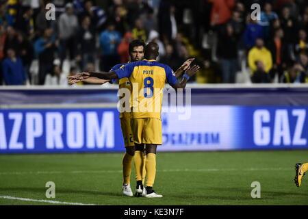 Nicosia, Cyprus. 17th Oct, 2017. Nicosia's Mickael Pote celebrates his 1-0 goal during the Champions League group - Stock Photo